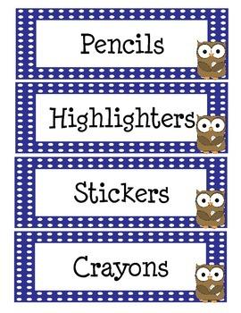Polka Dot Owl Classroom Labels