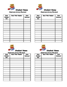 Owl Classroom Library Checkout forms