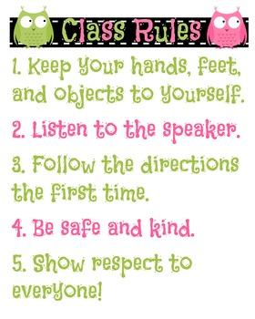 Owl Classroom Rules Printable