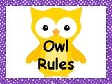 Owl Classroom Rules w/Polka Dots