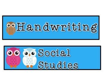 Owl Classroom Class Schedule Cards