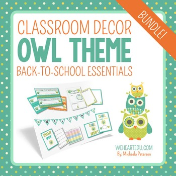 Owl Theme Classroom Decor Back To School Essentials