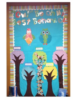 Owl Classroom Theme Bulletin Boards, Name Plates Tags, Beh