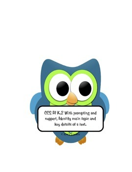 Owl Classroom organization Pack 1- Common core reading standards and nameplates
