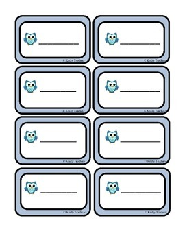 Owl Classroom organization Pack 2- Common core standards and tags Kindergarten