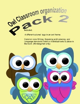 Owl Classroom organization Pack 2- Common core standards a