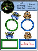 Owl Clip Art Frames Freebie - Color & BW