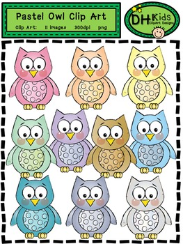 Owl Clip Art - Pastel Owls