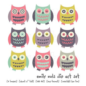 Owl Clip Art, Pink, Aqua, Blue, Purple, Mustard Yellow, for TpT Sellers