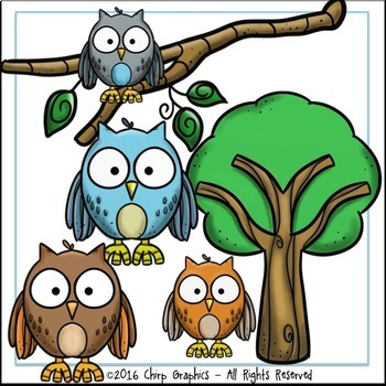 Owl Clip Art Set - Chirp Graphics