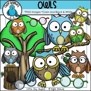 Owl Clip Art Set - Chirp Graphics
