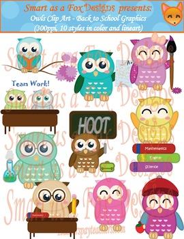 Owl Clip Art Set - Back to School Color and Blacklines