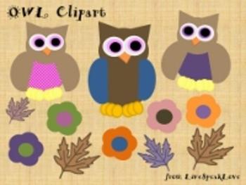 Owl Clip Art Set - Cute!