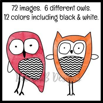 Watercolor Owls Clip Art