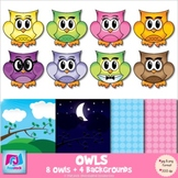 Owl Clip Art and Backgrounds - Commercial & Personal Use