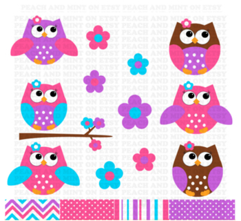 Owl Clip Art or Clipart - Animal Clip Art