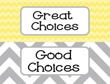 Owl Clip Chart yellow, aqua, & gray chevron