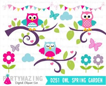Owl ClipArt, Owl Garden Clipart Set, Spring Owl Garden ...