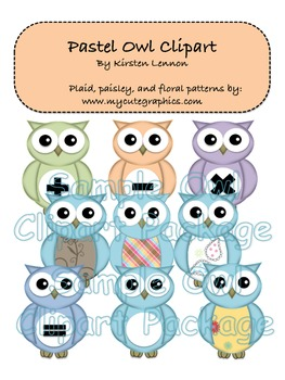Pastel Owl Clipart (Personal and Commercial use)
