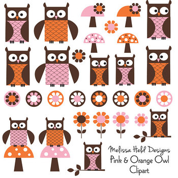 Pink Orange Owl Clipart