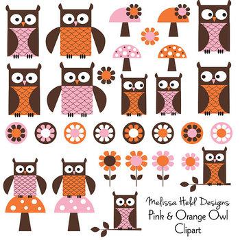 Pink Orange Owl Clipart