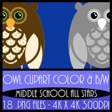 Owl Clipart - 18 Images - Color & B/W 4k x 4k 300 DPI