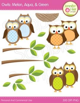 Owl Clipart: Aqua, Green and Melon Owls Clip Art and Graphics