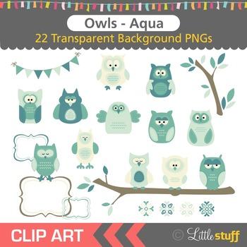 Owl Clipart, Aqua Owl Clip Art