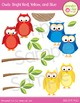 Owl Clipart: Bright Red, Blue, and Yellow Owls Clip Art Set