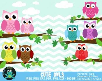 Owls {Upzaz Digital Clipart}