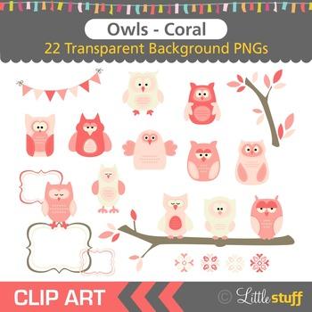 Owl Clipart, Coral Owl Clip Art