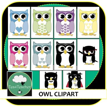 Owl Clipart X 10 Cute Colorful Owls Super Owls By Tea4teacher