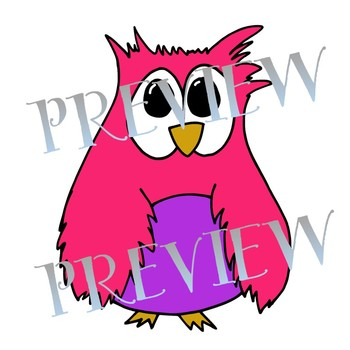 Owl Clipart- Cute Owls in 21 different colors