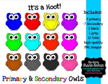 Owl Clipart Graphics Primary Secondary Colors for Commercial Use