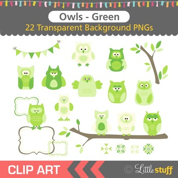 Owl Clipart, Green Owl Clip Art