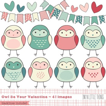Owl Clipart ~ Owl Be Your Valentine ~ Clip Art by Ink n Li