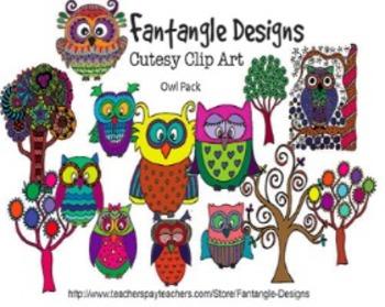 Owl Clipart Pack (Fantangle Designs Digital Clipart)