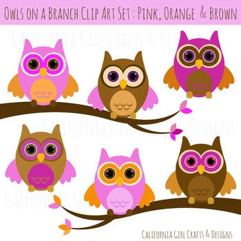 Owl Clipart - Pink, Orange and Brown Owls with Branches