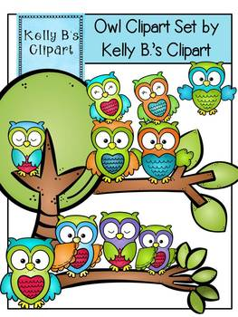Owl Clipart Set By Kelly B.'s Clipart