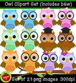 Owl Clipart Set (Set of 20, includes b & w) 300dpi
