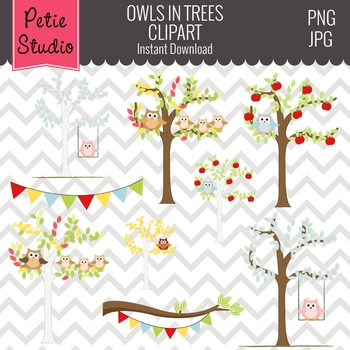 ON SALE Owl Perched in Trees Clipart // Fall Trees Clipart - Animals103