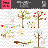 Owl Perched in Trees Clipart // Fall Trees Clipart - Animals103