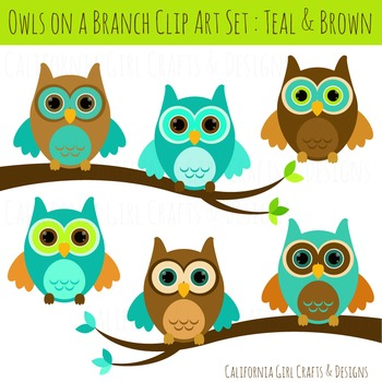 Owl Clipart - Teal and Brown Owls with Branches