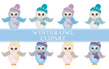 Owl Clipart - Winter Colors