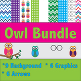 Owl Clipart and Background Bundle