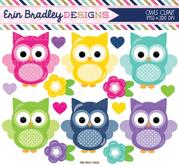 Owl Clipart with Hearts and Flowers