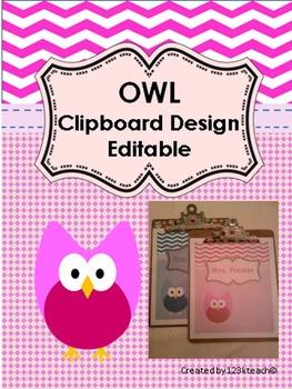 Owl Clipboard Decorative Set~Editable