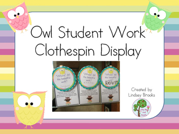 Owl Clothespin Work Display