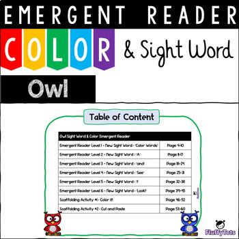 Owl Color Emergent Reader for Kindergarten : 6 Readers, 2 Scaffolding Activities