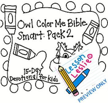 Owl Color Me Bible Smart Devotional Coloring Page Pack 2